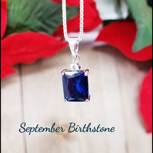 🆕Sterling Silver Rectangular Sapphire CZ Pendant